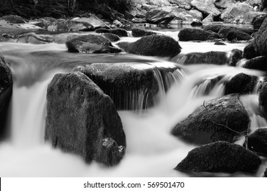 waterfall in black and white