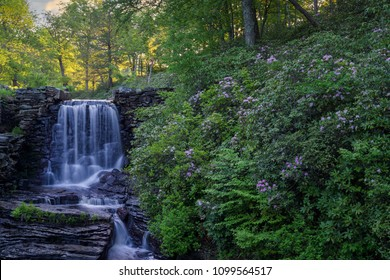 waterfall and blooming azaleas in Moore State park