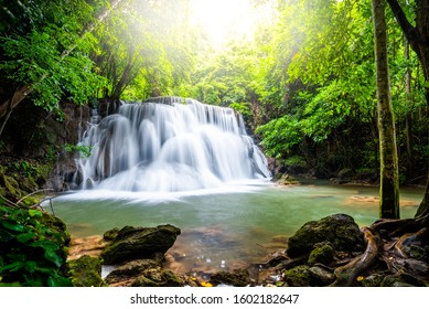 Waterfall and blue emerald water color in Huay mae kamin waterfall