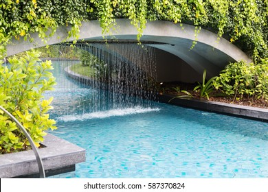 Waterfall with blue water in the pool