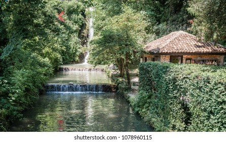 Waterfall in botanical gardens of Balchik Palace in Bulgaria