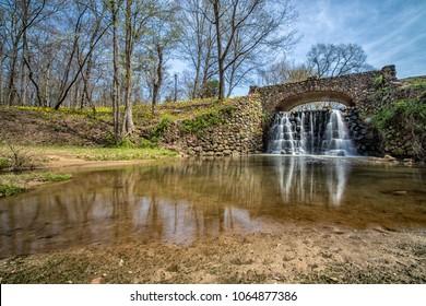 Waterfall Bridge at Reynolda Gardens in Winston-Salem, North Carolina.