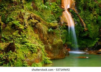 Waterfall Caldeira (caldera) Velha in the island of Sao Miguel, Azores islands