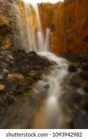 Waterfall of Cascada de los Colores in caldera of Taburiente, island of La Palma, Canary Islands