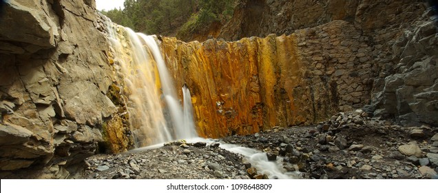 Waterfall of Cascada de los Colores in caldera of Taburiente, island of La Palma, Canary Islands