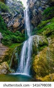 Waterfall Cascade de Courmes near Pont du Loup, France