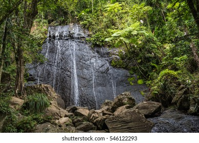 Waterfall cascading over a huge rock face in rain forest with lush vegetation and larger boulders in the foreground