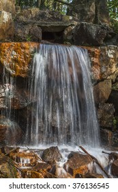Waterfall at the casino park in spring, Georgsmarienhuette, Osnabrueck country, Lower Saxony, Germany, Europe