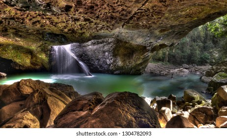 Waterfall and Cave at the Natural Bridge, Springbrook National Park, Queensland