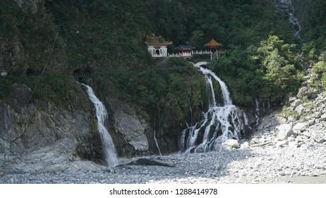 Waterfall Changshun Tzu Water Temple in the Taroko National Park near Hualien, Taiwan.