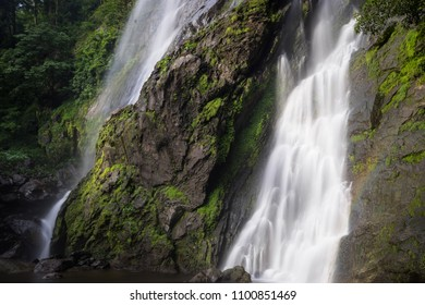 Waterfall close up in the natural deep forest