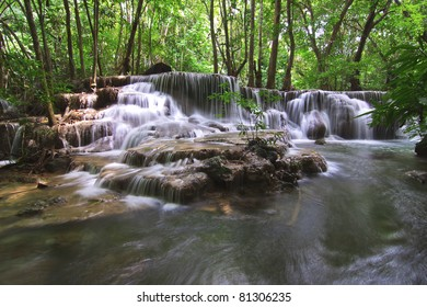 Waterfall in deep forest;