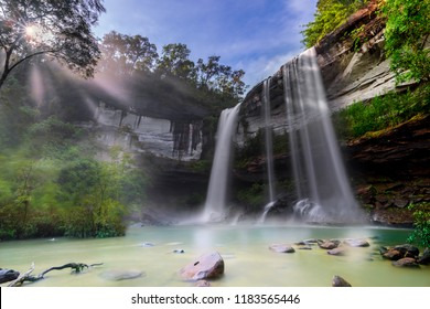 Waterfall in deep forest Huai Luang Waterfal  Ubon Ratchathani, Thailand ,is popular with waterfall tourists .