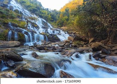 waterfall in deep forest as landscape
