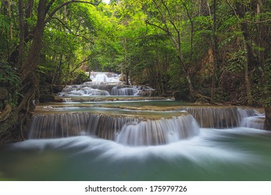 Waterfall in deep forest in national park in Thailand