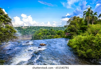 Waterfall in deep forest panorama