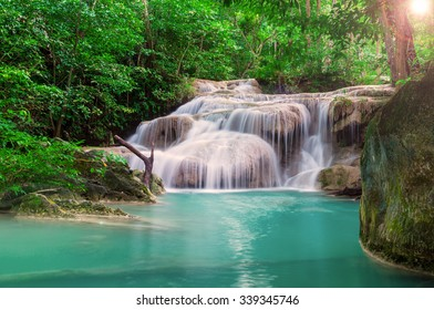 Waterfall in the deep Jungle at Erawan National Park