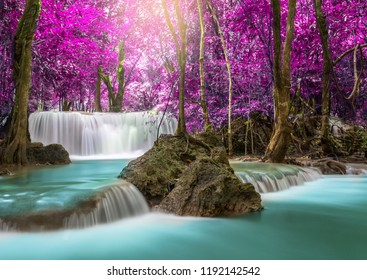Waterfall in deep rainforest beautiful in autumn,Huay Mae Kamin Waterfall in Thailand Kanchanaburi Province