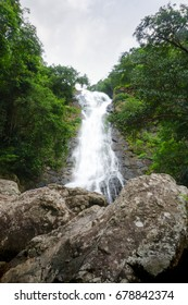 Waterfall in deep tropical forest.