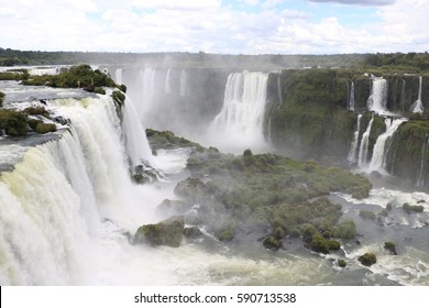Waterfall detail from Brasilian Side, in the Iguazu falls park, during a sunny day, near Devil´s throw