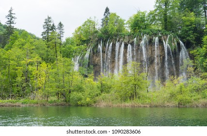 Waterfall from the distance at Plitvice Lakes National Park in Croatia