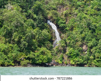 Waterfall at Dome Island outside Myeik, a part of the Mergui or Myeik Archipelago in the Tanintharyi Region of Southern Myanmar.