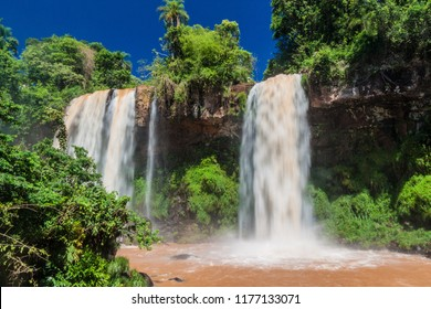 Waterfall Dos Hermanas (Two Sisters) at Iguacu (Iguazu) falls on a border of Brazil and Argentina