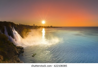 Waterfall Duden at Antalya, Turkey - nature travel background. Waterfall on Duden river in Antalya, Turkey. Falls panorama overlooking the sea