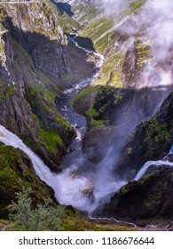 Vøringfossen Waterfall - Eidfjord, Hordaland, Norway. It is one of the most famous waterfalls in Norway.