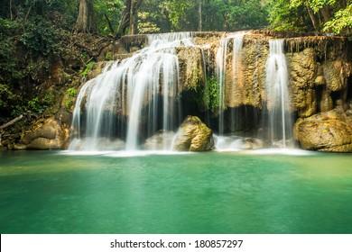 Waterfall erawan , Kanchanaburi Province, Thailand