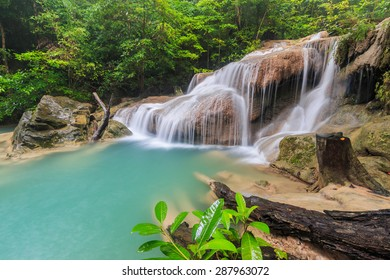 Waterfall (erawan waterfall) in kanchanaburi of Thailand