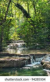 waterfall in Erawan national park , Kanchanaburi , thailand