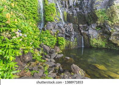 A waterfall at Faja Grande. Poco do Bacalhau. Flores, Azores islands, Portugal