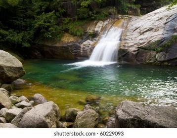 Waterfall falling into a green lake