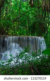 Waterfall in the forest asia thailand Erawan Waterfall, Kanjanaburi Thailand