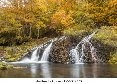 Waterfall in the forest in autumn season