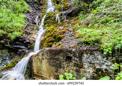 waterfall in the forest in the Clemgia Gorge of the lower Engadin near Scuol on a summer day
