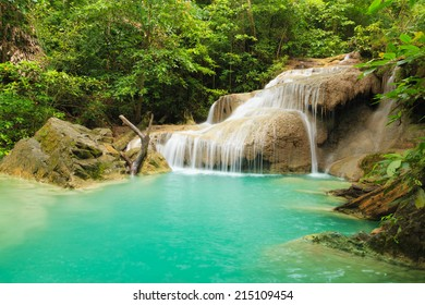 Waterfall in the Forest Erawan National Park of Thailand