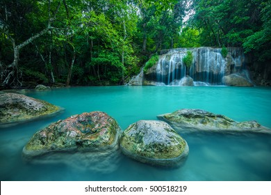 Waterfall in forest at Erawan waterfall National Park, Kanchanaburi, Thailand