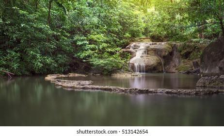 Waterfall in forest at Erawan waterfall National Park, Kanjanaburi Province , ThailandThailand