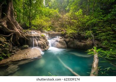 Waterfall in forest at Erawan waterfall National Park, Kanchanaburi, Thailand