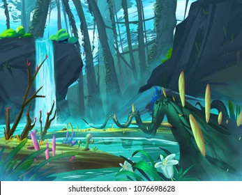 The Waterfall Forest with Fantastic, Realistic and Futuristic Style. Video Game's Digital CG Artwork, Concept Illustration, Realistic Cartoon Style Scene Design