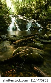 A waterfall in a forest.  Great Smoky Mountains National Park, USA.
