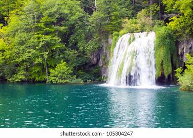 waterfall in forest lake, Plitvice, Croatia