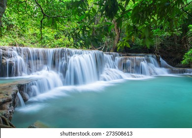 Waterfall in a forest on the mountain.