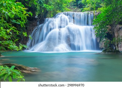 Waterfall in a forest on the mountain