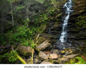 Waterfall in the forest. Republic of Karelia, Russia