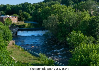 A waterfall formed by a dam on the Salmon River in Malone, NY