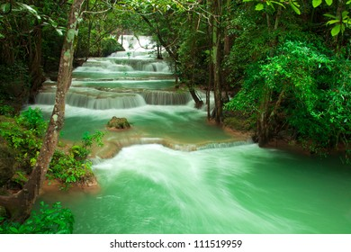 waterfall in fresh green forest  Thailand