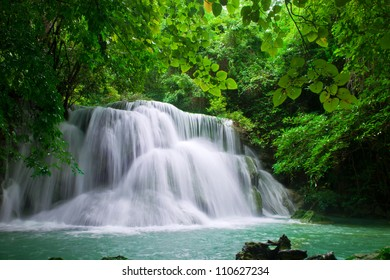 waterfall in freshgreen forest  Thailand